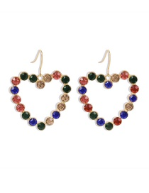 Fashion Color Diamond Heart Alloy Hollow Earrings