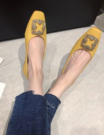 Fashion Yellow Flat Square Toe Shoes With Rhinestone Square Buckle