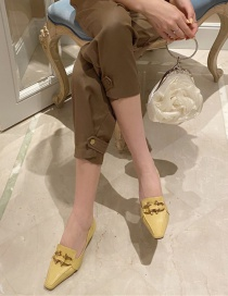 Fashion Yellow Metal Buckle Small Square Toe Soft Leather Mid-heel Shoes