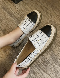 Fashion White Flat-bottomed Woolen Platform Stitching Contrast Color Fisherman Shoes