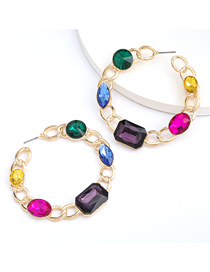 Fashion Color Chain Shaped Round Alloy Diamond Earrings