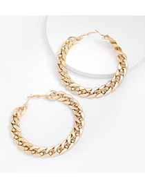 Fashion No. 9 Gold Alloy Chain Type Round Hollow Earrings