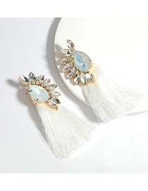 Fashion White Alloy And Glass Diamond Long Tassel Earrings