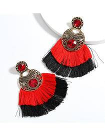 Fashion Red Alloy Inlaid Glass Diamond Double Tassel Earrings