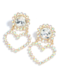 Fashion Ab Color Round Heart Alloy Diamond Earrings