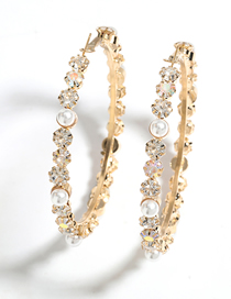 Fashion Golden Alloy Diamond Pearl Round Earrings