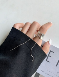 Fashion Silver Color Lace Tassel Open Metal Mirror Ring