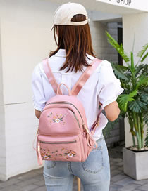 Fashion Pink Nylon Floral Embroidered Backpack