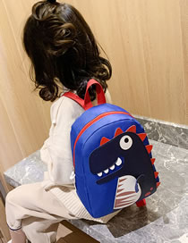 Fashion Blue Dinosaur Stitching Contrast Color Childrens Backpack