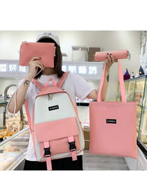 Fashion Pink Canvas Stitching Contrast Color Buckle Four-piece Backpack