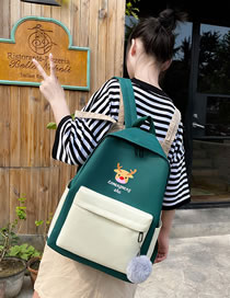 Fashion Dark Green Canvas Fawn Print Contrast Backpack