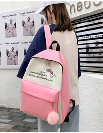 Fashion Pink Rainbow Letter Print Stitching Contrast Backpack