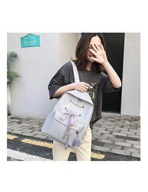 Fashion Gray Four-piece Bow Letter Printed Backpack
