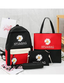 Fashion Black And Red Color Matching Daisy Letter Printed Four-piece Backpack