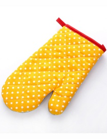 Fashion Small Dot-yellow Thickened Heat-insulated Microwave Oven Special Baking Gloves
