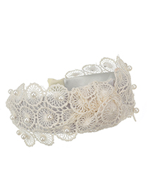 Fashion Creamy-white Lace Flower Pearl Knotted Hair Band