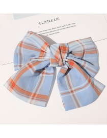 Fashion Plaid Hairpin-sky Blue Checked Bowknot Fabric Printed Hairpin