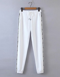 Fashion White Contrast Side Stripes Jogging Pants With Belt