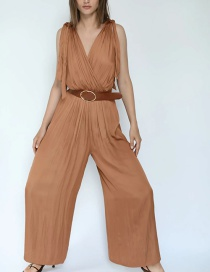 Fashion Brown Silk Satin Pleated Bow Tie With Belt Jumpsuit
