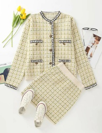 Fashion Yellow Striped Single-breasted Knit Cardigan Top Elastic Waist Skirt Suit