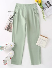 Fashion Green Solid Color Pocket Suit Trousers