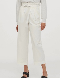 Fashion White Twill Wide-leg Trousers With Wood Ears