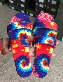Fashion Color Flower And Color Print Round Toe Slippers