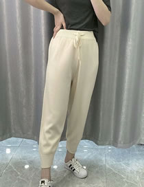 Fashion Beige Knit Lace-up Straight Leg Trousers