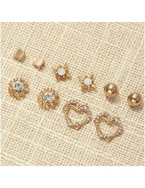 Fashion Golden Diamond Heart Round Alloy Hollow Earring Set