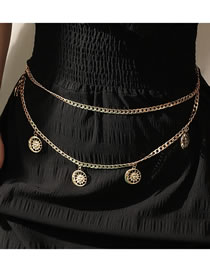 Fashion Golden Sun Round Pendant Alloy Tassel Multilayer Waist Chain