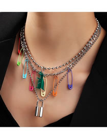 Fashion Color Mixing Lock Shaped Pin Round Bead Chain Alloy Multilayer Necklace
