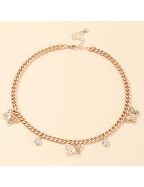 Fashion Golden Diamond-studded Butterfly Thick Chain Alloy Necklace