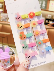 Fashion Bunny Daisy [10 Pieces] Resin Alloy Animal Flower And Fruit Hairpin Set For Children