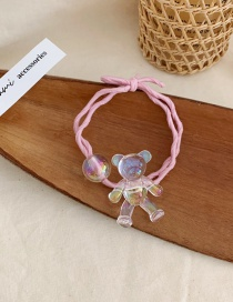 Fashion Pink Hair Rope Transparent Bear Knotted Elastic Hair Rope