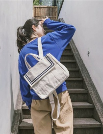 Fashion White Canvas Flap Stripe Contrast Backpack