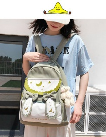 Fashion Green Send Bear Pendant Bow Rabbit Ears Print Contrasting Backpack