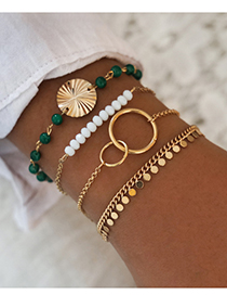 Fashion Gold Color Alloy Resin Chain Multi-layer Bracelet