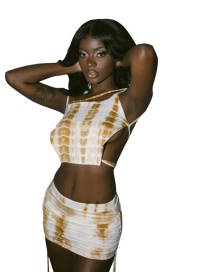 Fashion Yellow Lace-up Camisole High Waist Bag Hip Skirt Suit