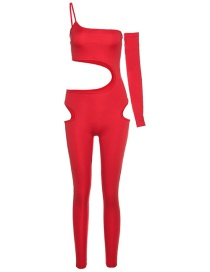 Fashion Red Slim-fit Trousers With Halter Neckline