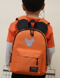 Fashion Orange Mickey Stitching Nylon Fabric Contrast Color Childrens Backpack