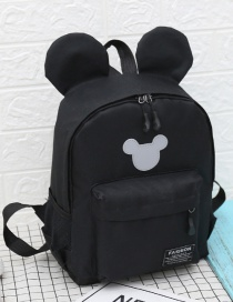 Fashion Black Mickey Stitching Nylon Fabric Contrast Color Childrens Backpack