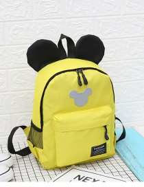 Fashion Yellow Mickey Stitching Nylon Fabric Contrast Color Childrens Backpack