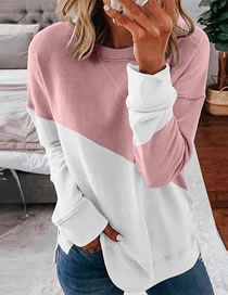 Fashion Pink Round Neck Contrast Stitching Loose Sweater