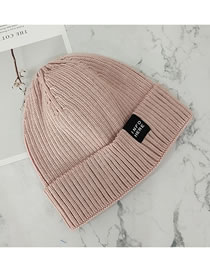 Fashion Lotus Root Starch Knitted Crimped Letter Cloth Label Woolen Hat