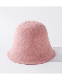 Fashion Pink Pure Color Sunscreen Knit Fisherman Hat