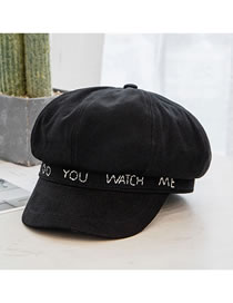 Fashion Black Letter Embroidery Stitching Solid Color Octagonal Hat