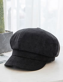 Fashion Black Brushed Cotton Stitching Solid Color Octagonal Hat