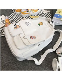 Fashion Without Pendant White Badge Stitching Solid Color Backpack