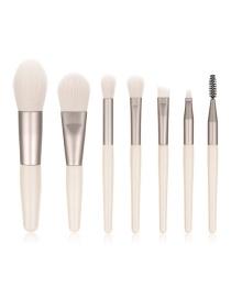 Fashion 7 Sticks Of Apricot Wooden Handle Aluminum Tube Makeup Brush Set