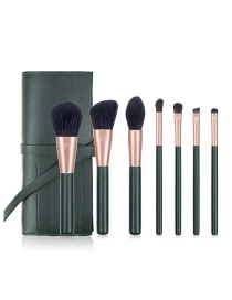 Fashion 7 Dark Green Belt Bags Wooden Handle Aluminum Tube Makeup Brush Set With Bag